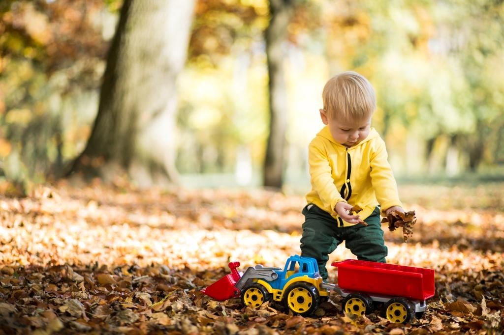 niño pequeño jugando con un camión en el parque, sobre hojas de otoño