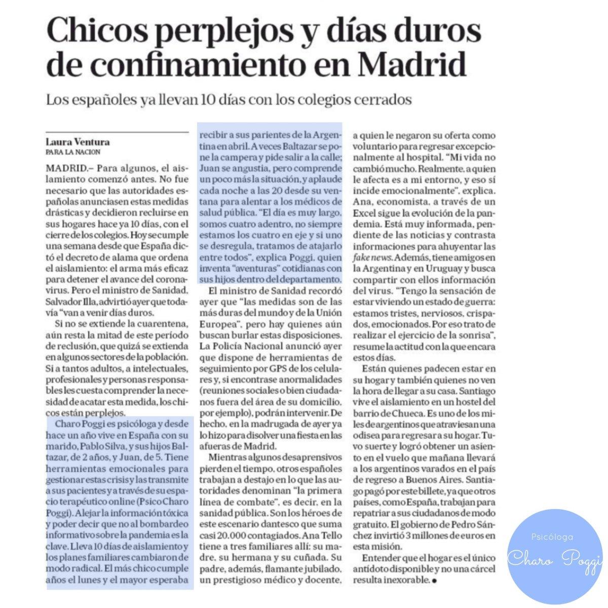 Entrevista a Psicóloga Charo Poggi en La Nación: aislamiento con niños enMadrid.