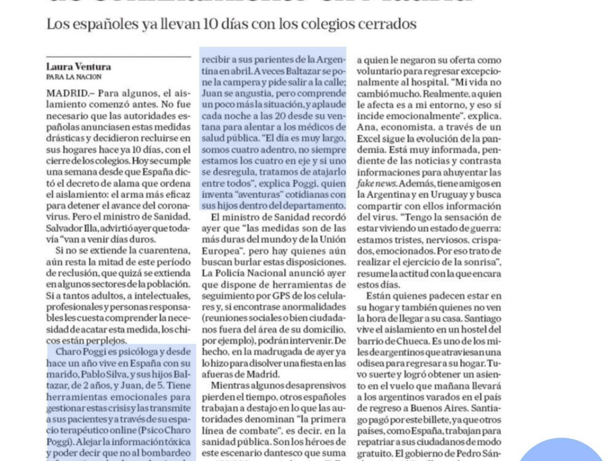 Pantallazo del reportaje en el diario La Nacion (Argentina) titulado Chicos perplejos y días duros de confinamiento en Madrid. Logo de Psicóloga Charo Poggi